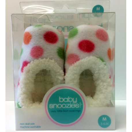 Chaussons Baby snoozies - BLANC Ronds - taille M