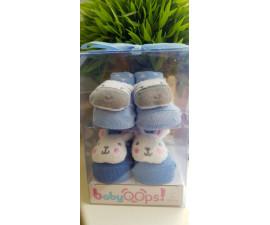 BABYOOPS Chaussettes pour bébé 0-6 mois zèbre-lapin bleues